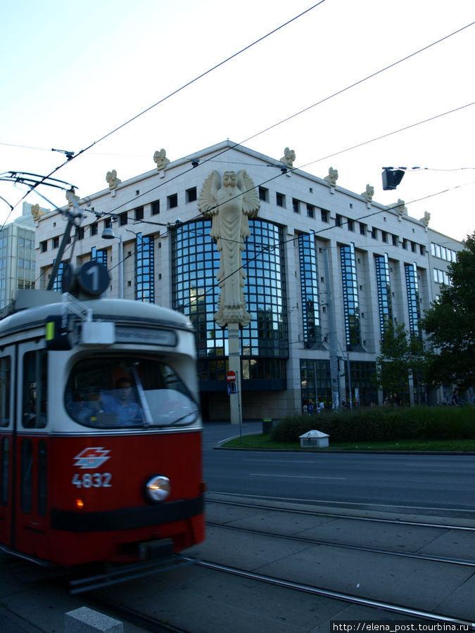 кроме современных трамваев в Вене ходят также и старые трамвайчики