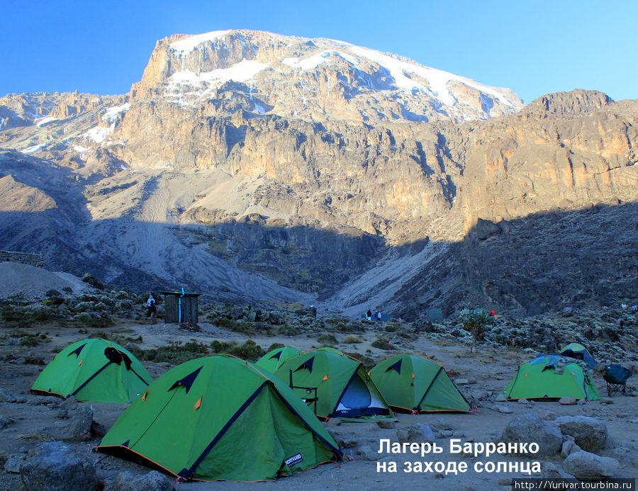 Лагерь Барранко на заходе солнца
