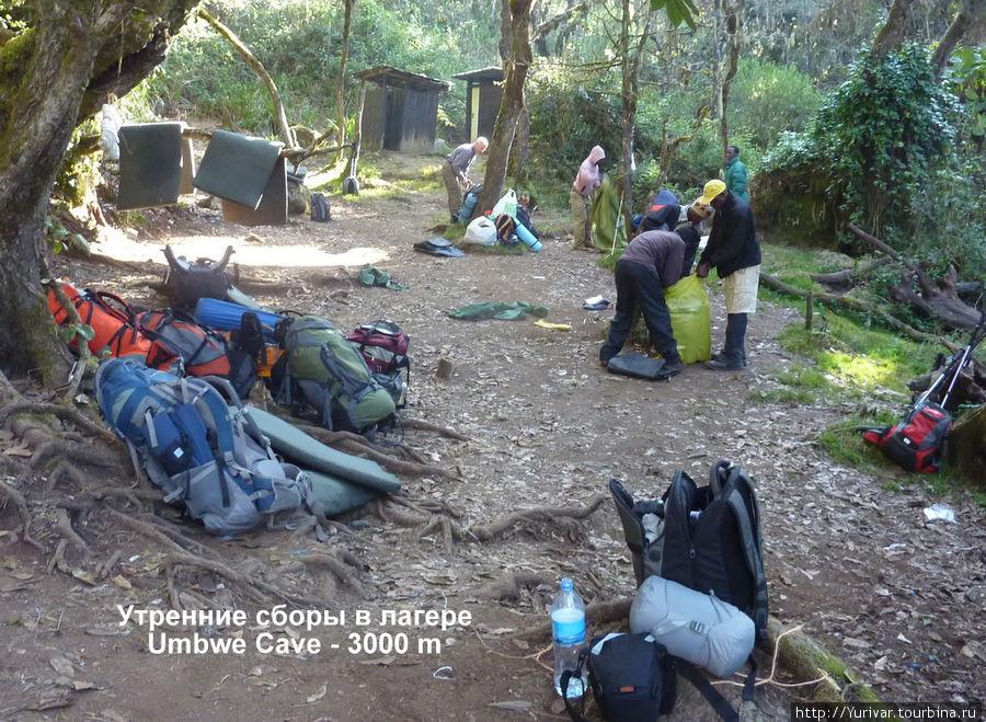 Утренние сборы в лагере Umbwe Cave — 3000m