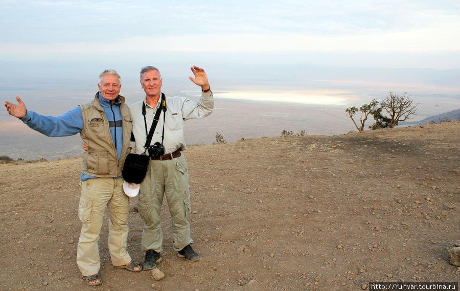 На краю кратера Нгоронгоро.