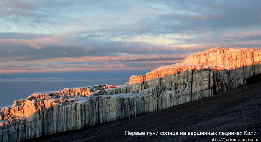 Первые лучи солнца на вершинных ледниках Кили