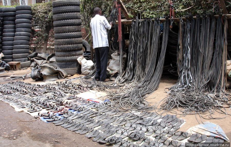 Изготовление сандалий из шин