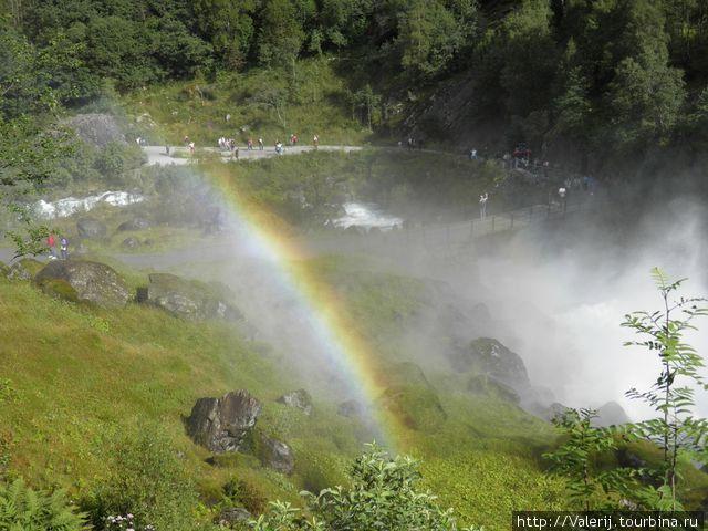 Радуга в брызгах водопада
