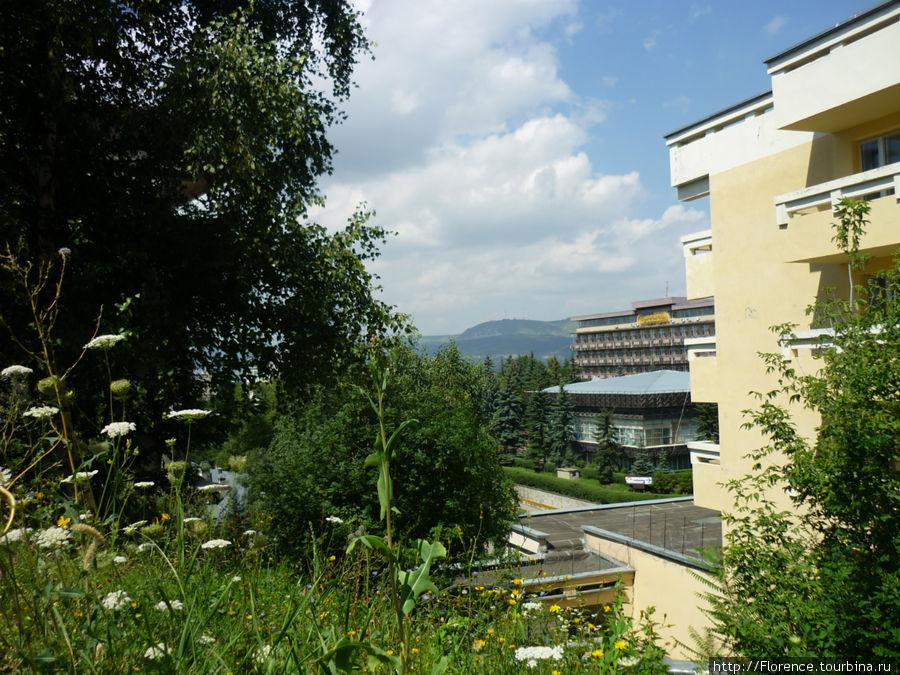 Вид от входа в гостиницу. На переднем плане неработающая гостиница Кавказ, за ним санаторий Кругозор