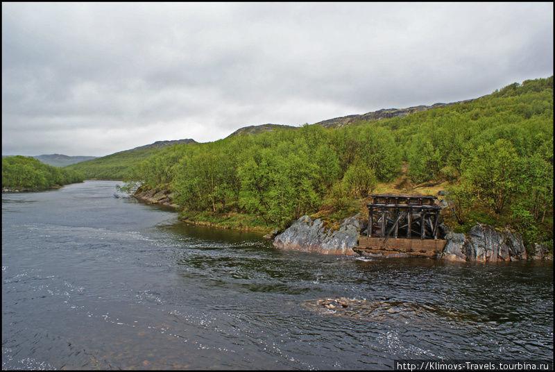 Сгоревший мост через реку. Говорят, что его сожгли пограничники уставшие бороться с браконьерами