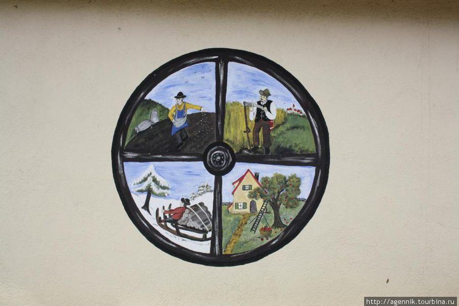 Рисунок на доме — 4 времени года.