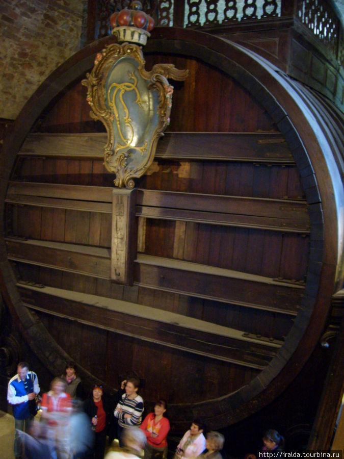 В подвалах замка располагается самая большая в мире винная бочка-  знаменитая Гейдельбергская бочка