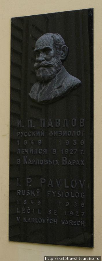 Мемориальная доска русскому физиологу И.П. Павлову на одноименном отеле