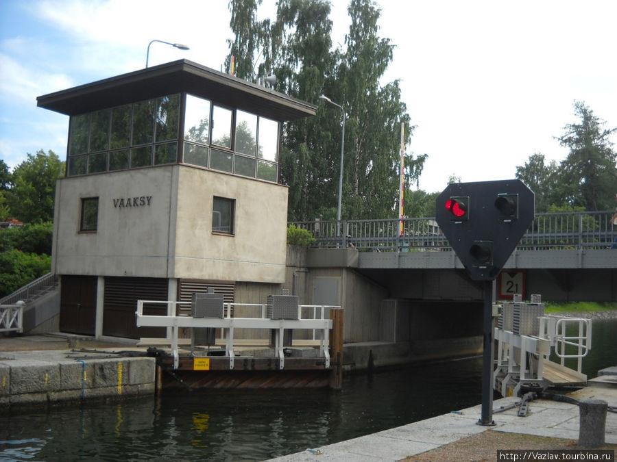 Ворота шлюза, будка управления и разводной мост на заднем плане