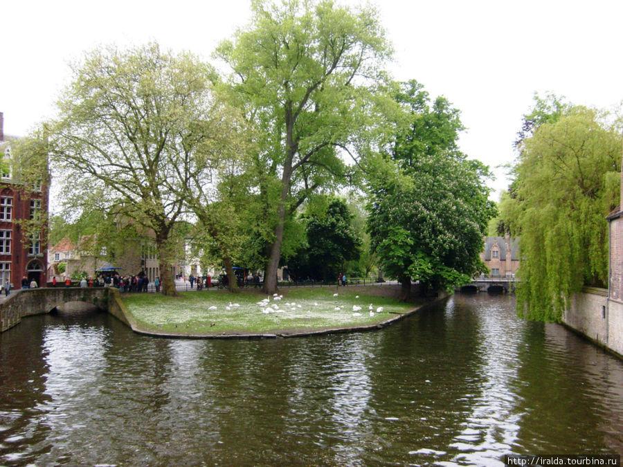 Озеро Минневатер, которое когда-то было частью канала, соединявшего Брюгге и Гент. Сегодня это небольшое живописное озеро, по котрому плавают прекрасные белые лебеди