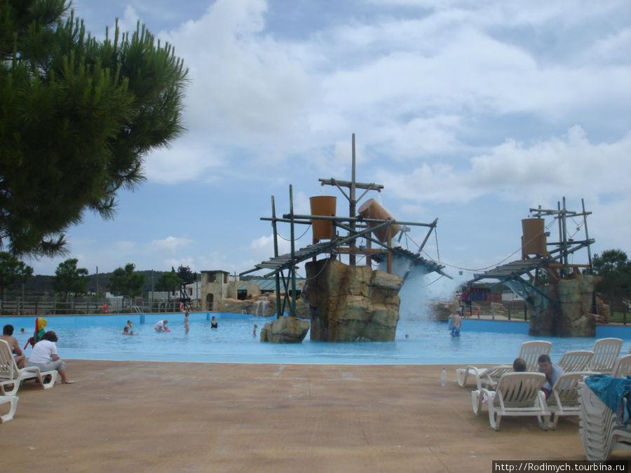 Взрослые кадушки, рядом бассейн с волной