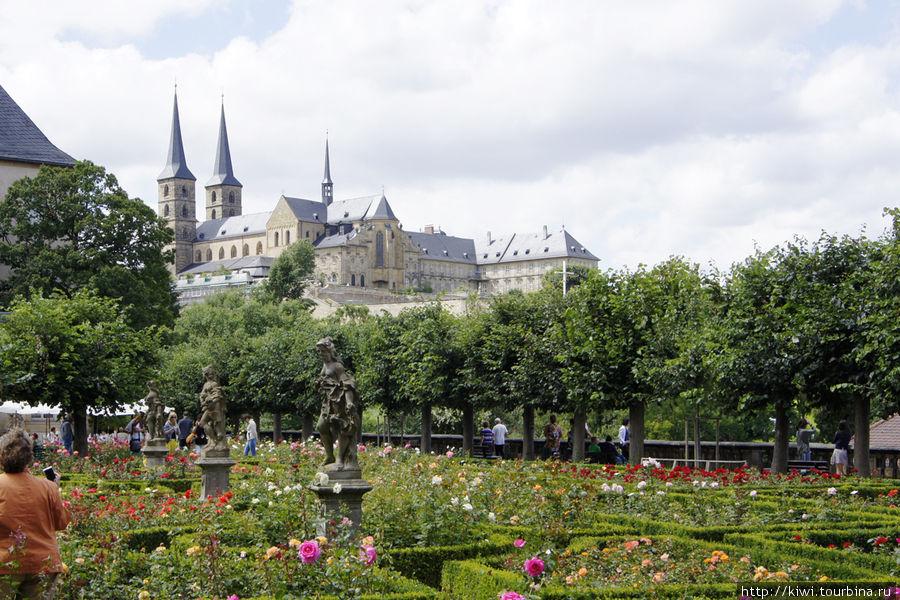 Вид на церковь святого Михаила из Розового сада