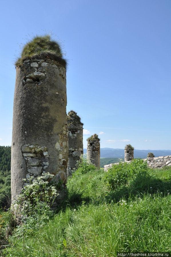 Колонны у стен крепости много столетий обветшали, а наверху у них расрослась трава... И вышла такая себе импровизированная альпийская горка!