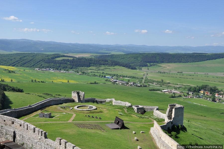 Нижний двор крепости и система его укреплений, обновленная в 13-ом столетии, перед нашествием войск Батыя на Европу.