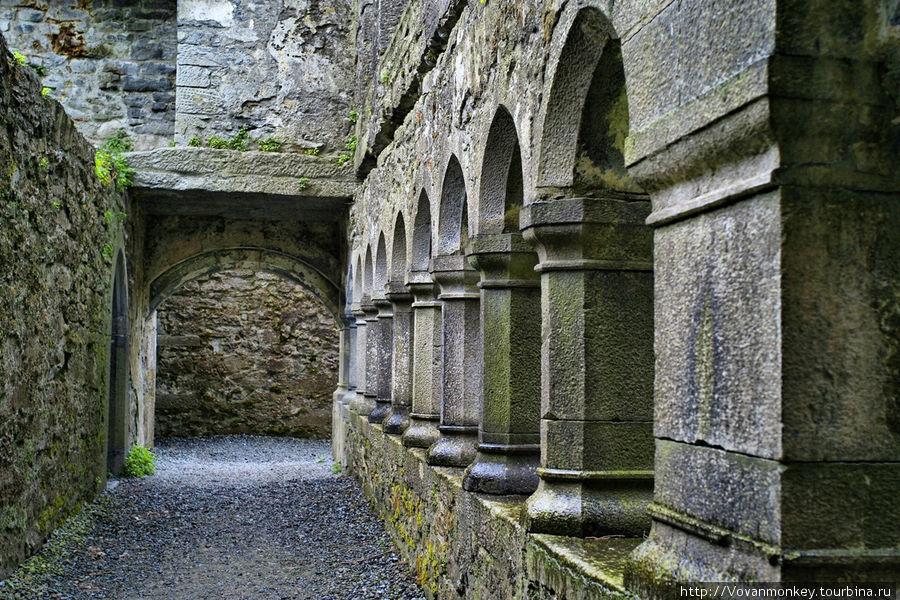 В монастыре Ross Errily Friary — колонны внутреннего дворика