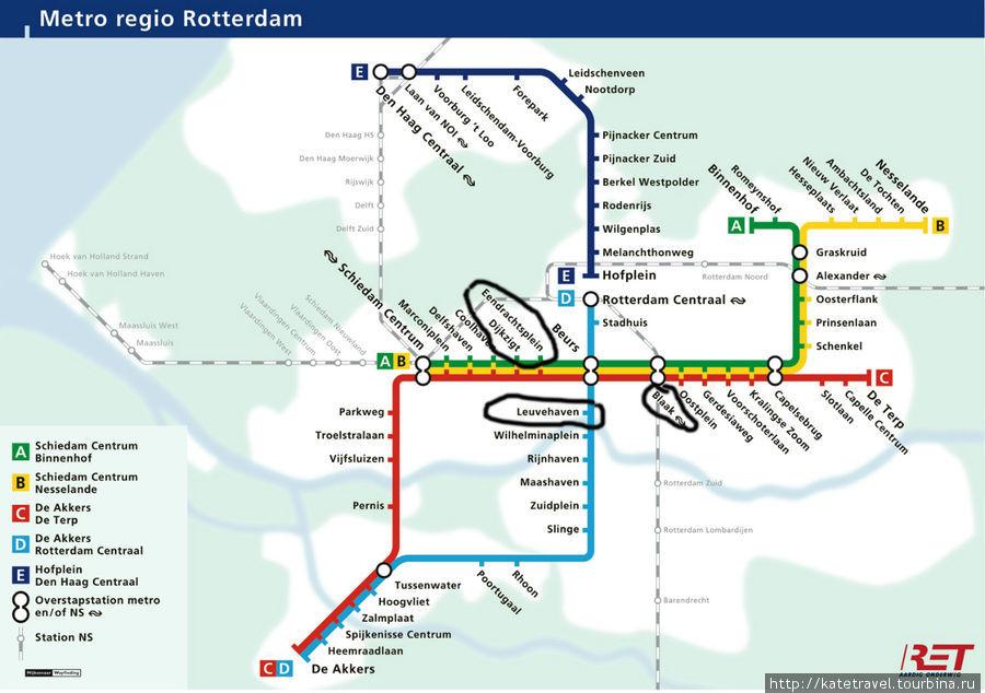Схема метро Роттердама