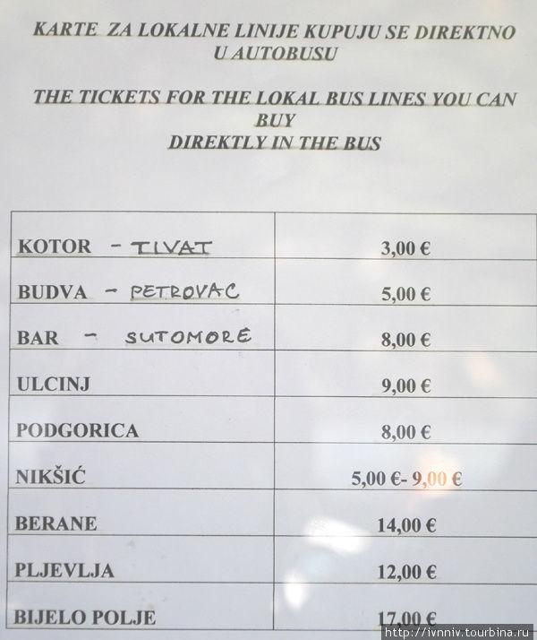 стоимость проезда по Черногории от Херцег-Нови