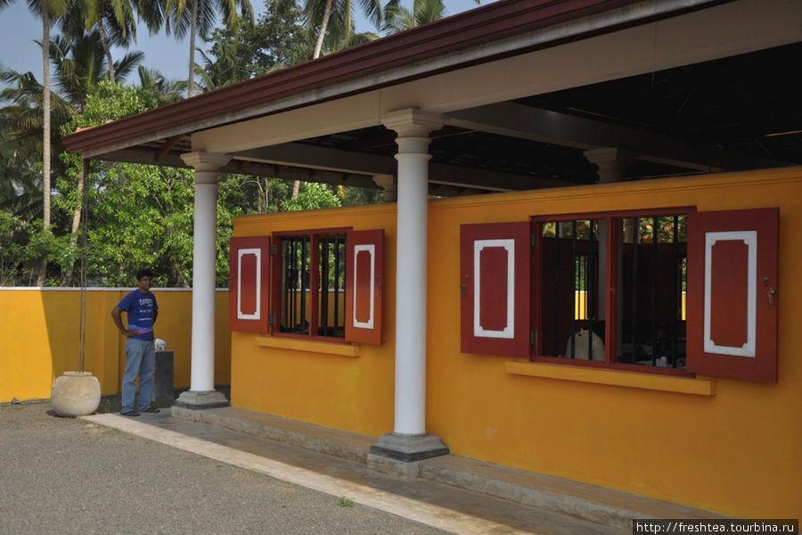 Фасад Арт-школы будто облит ярким тропическим солнцем Шри-Ланки, а белёные колонны веранды — реплика на дома старинного форта Галле, что в часе езды отсюда.  Своей мощью форт во многом обязан именно деятельным и основательным голландцам из Ост-Индской голландской компании (VOC), что действовала в этой части острова в 17-18-ом веках.