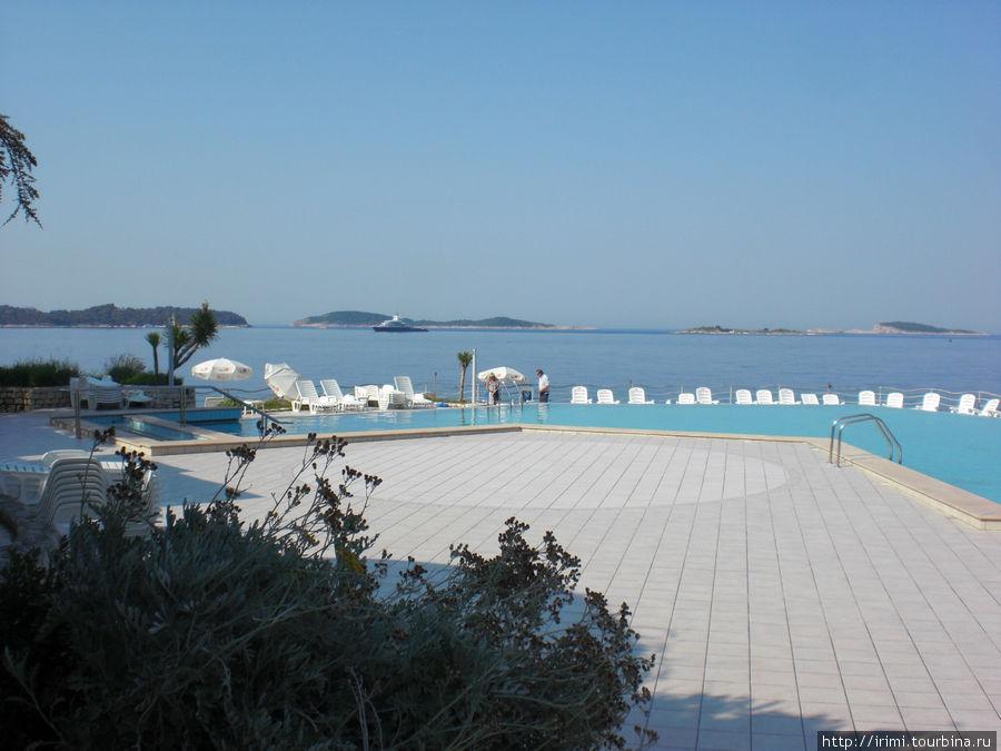 Вид из ресторанчика внизу отеля Орфей. Бассейн находится на уровне 5-6 метров над морем, поэтому такая шикарная панорама. Кстати, на рейде стоит не научный корабль, а одна из 5-ти яхт Абрамовича :-)) правда!