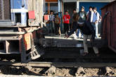 Сцепка локомотива с поездом.