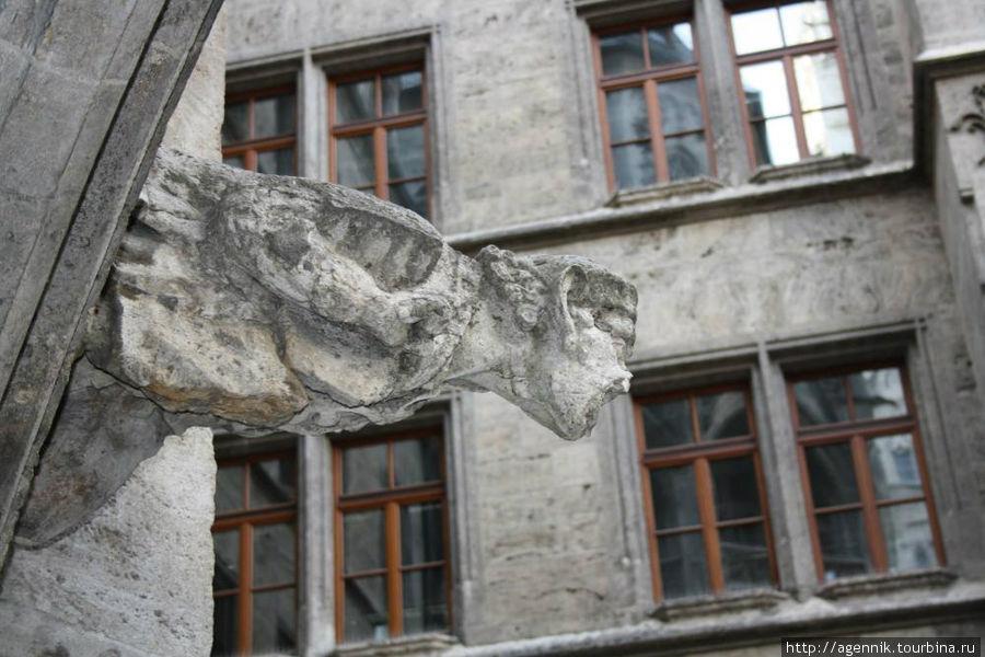 Во внутреннем дворе водостоки офрмлены тоже в виде готических фигур