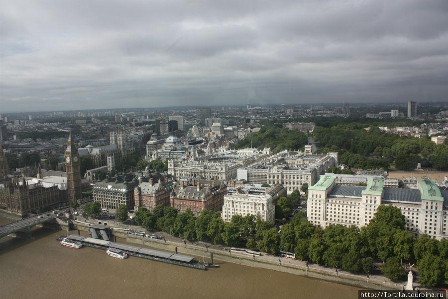 Вид с Лондонского глаза на Уайт-холл