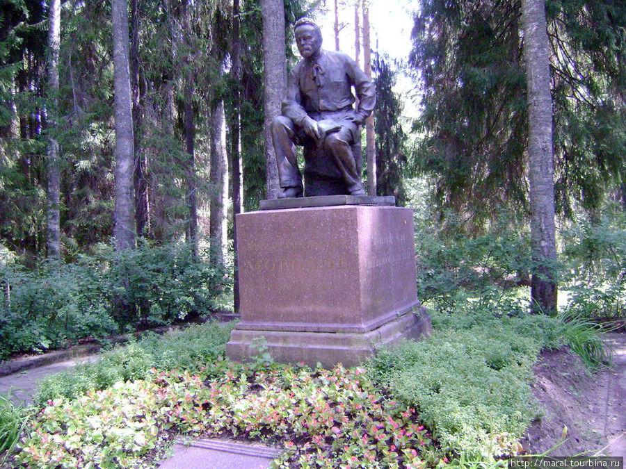 Памятник установлен рядом с домом — музеем в окружении парка, где всегда царят мир и покой