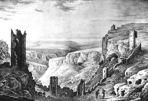 Ж. Мивилль. «Остатки города-крепости Мангуп-Кале», 1818