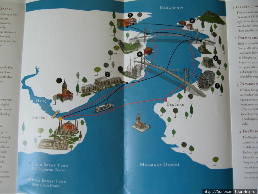 На схеме черной линией показан маршрут 6-ти часовой поездки (Full Bosphorus Cruise), красной линией — короткий маршрут (Short Circle Cruise). Цифрами обозначены: 1 — Галатская башня, 2 — дворец Долмабахче, 3 — мечеть Ортакой, 4 — Босфорский мост, 5 — дворец Бейлербей, 6 — вилла Гюксу, 7 — Румели Кавагы, 8 — Анадолу Кавагы