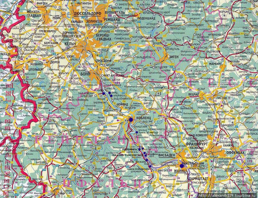 Карта части маршрута Евро 2007 (Кельн — Майнц)