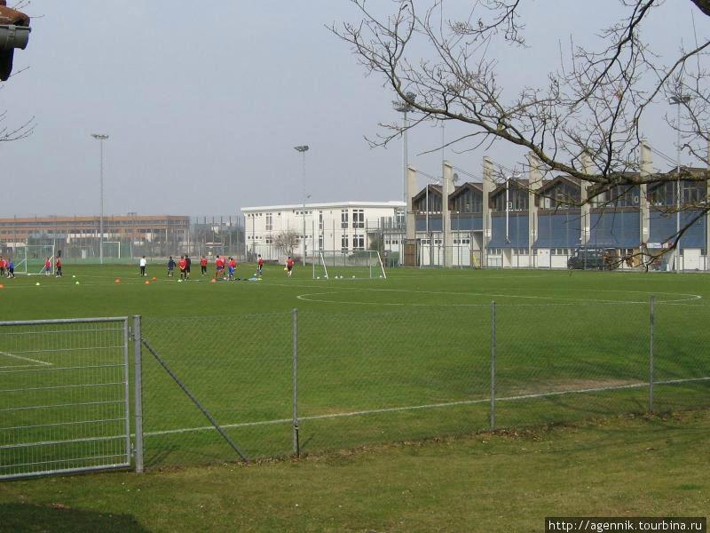 Школа — видно профессионально футбольное поле рядом с ней