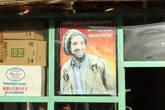 По всей стране висят портреты национального героя, но в Пандшере их особенно много. На этой фотографии по-моему он чем-то похож на Боба Марли.