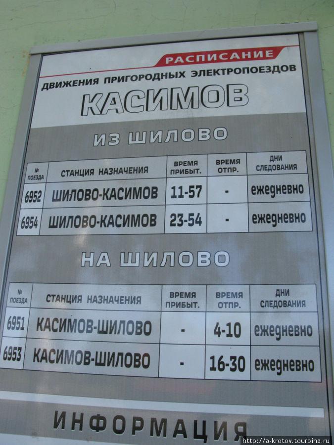 Расписание электричек в шилово