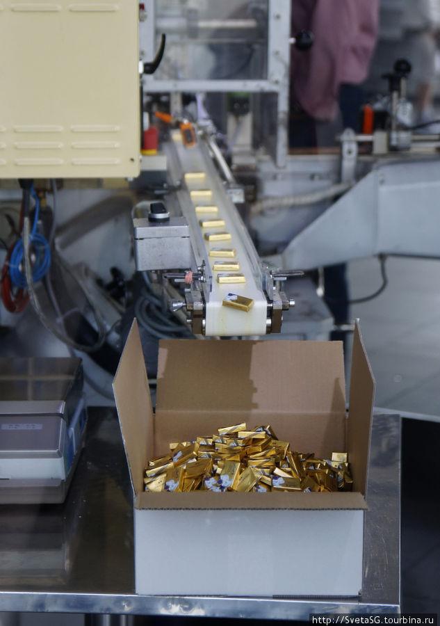 Готовые завернутые шоколадки упаковывают в коробку.