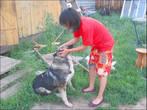 Надя играет с собакой. Вообще, собаки у них две — но цепной пёс очень злой. А эта ничего, ласковая.