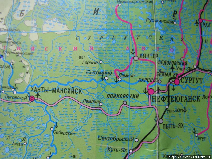 Схема плавания Ханты-Мансийск, Россия.