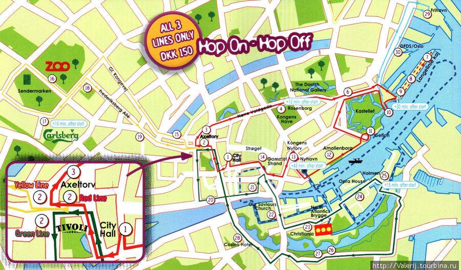 Схема трех маршрутов автобусов системы Hop sn — Hop off b морской пргулки, включая каналы Копенгагена.