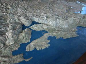 объёмная модельЧерногории  со стороны моря, Бока-Которский залив
