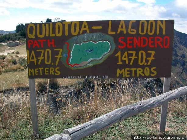 Вывеска у озера Килотоа