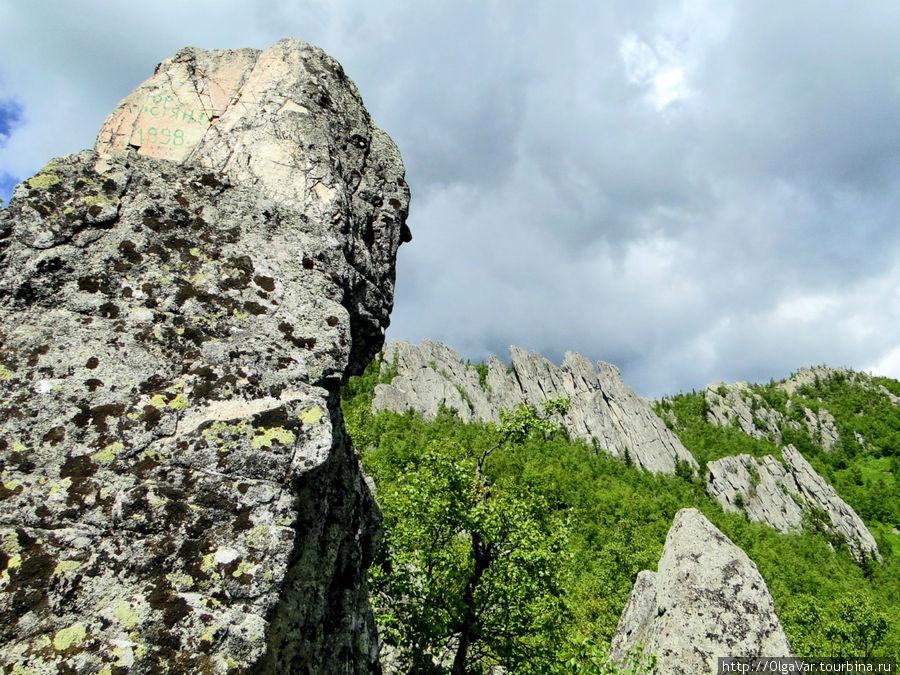 А в этой скале я увидела огромного птенца, вглядывающегося в небо в ожидании, когда вернутся родители Златоуст, Россия