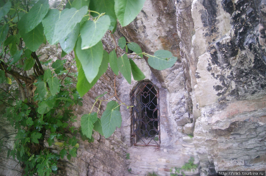 Пещера, которая ведет к подземному озеру — источнику мацестских вод. На входе решетка, потому что из-за высокой концентрации сероводорода, в пещере нечем дышать.
