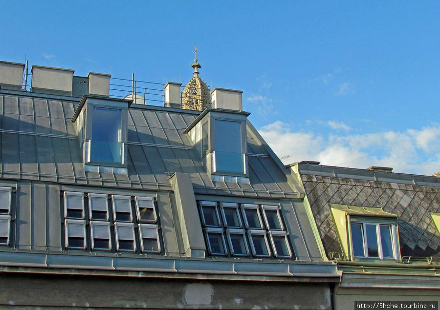 Вид из окна 5 этажа, виден купол соседней церкви Maria am Gestade