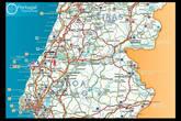 Это карта центральной части Португалии. Алкобаса находится почти по центру, между Лиссабоном и Коимброй.