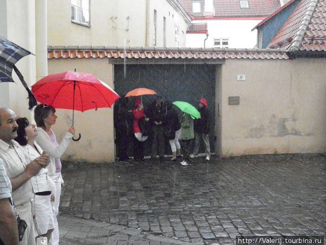 Дождь не слабый. Пришлось искать укрытие. Зонт не спасает!