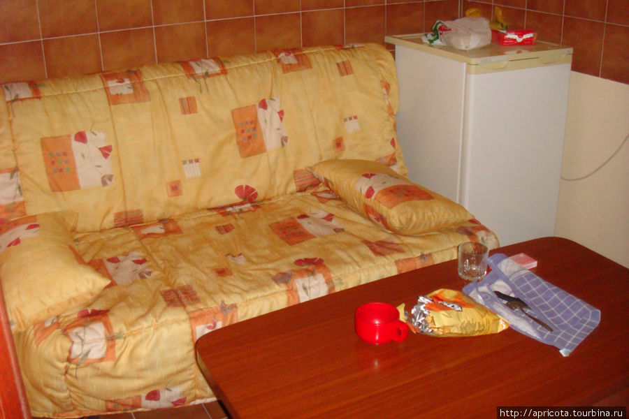 в коридоре стоит раскладывающийся диван, столик, холодильник и телевизор, получается этакое место для просмотра телека)