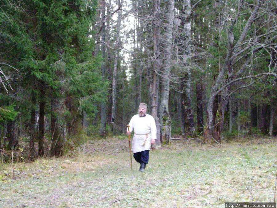На лесной тропе показался мужик в белой рубахе-косоворотке с посохом в руке