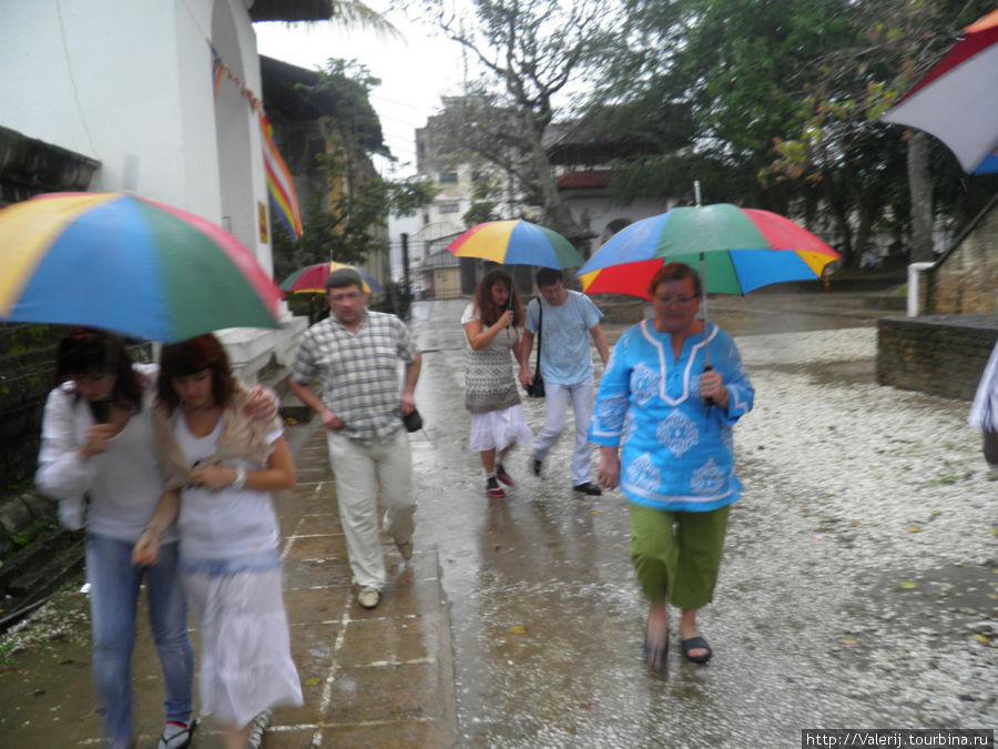 К моменту нашего появления в храме святого Зуба Будды пошел дождь