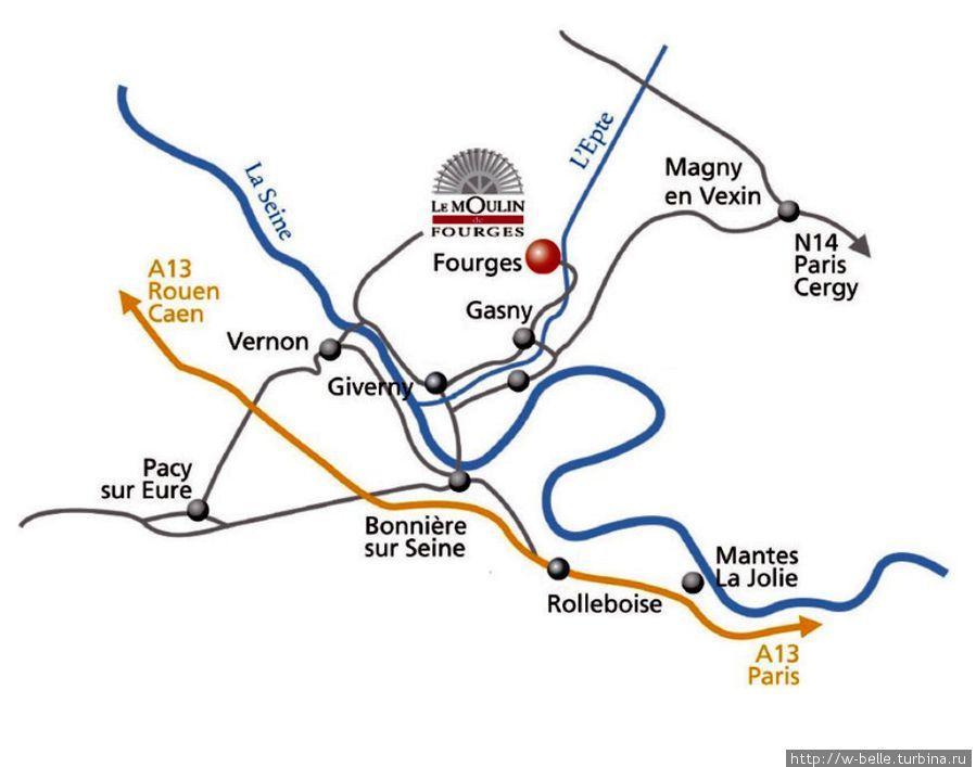 Схема проезда к мельнице в Фурже.