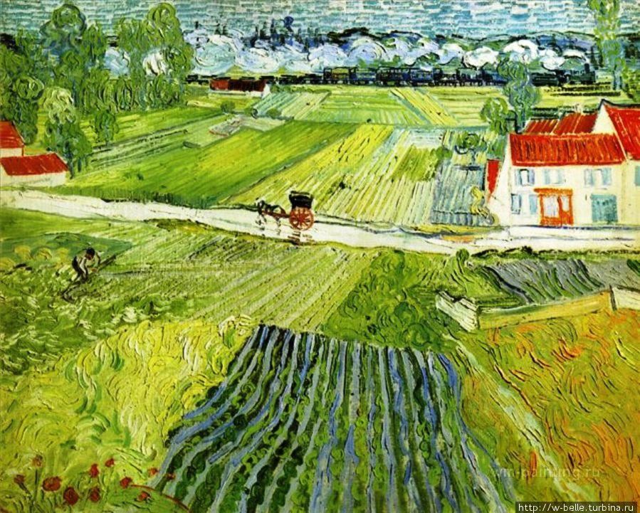 Пейзаж в Овере после дождя ( Пейзаж с повозкой и поездом), Ван Гог, 1890г