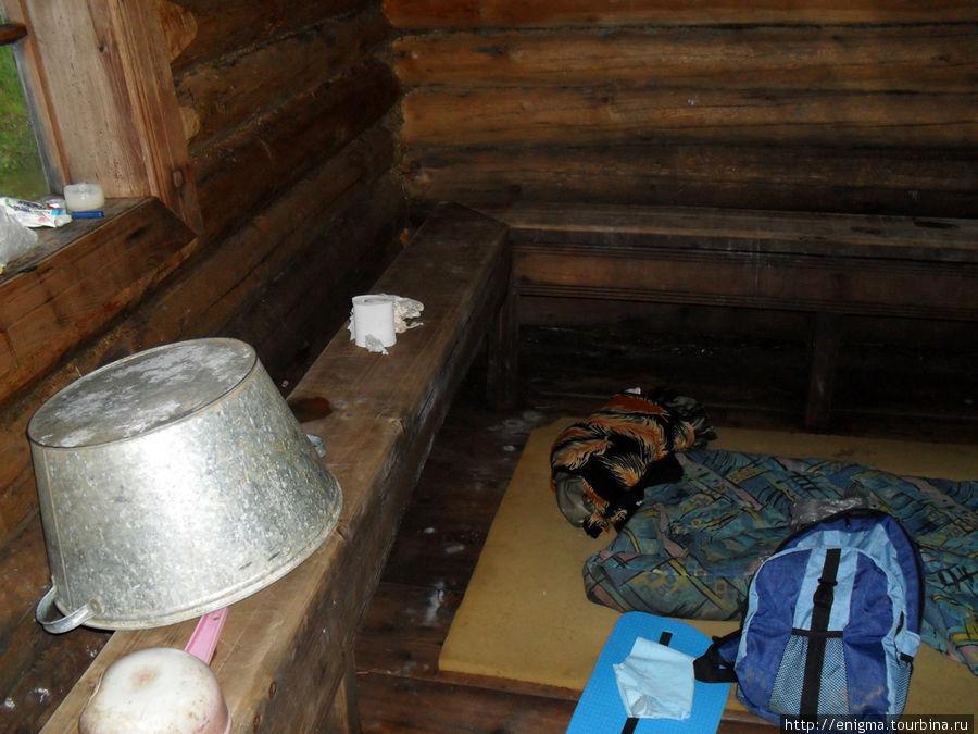 Вот так и ночевала в этой бане лесников на сыром полу !
